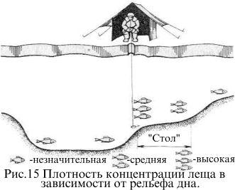 Плотность концентрации леща в зависимости от рельефа дна
